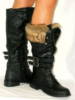 Tall Motorcycle Buckle Flat Riding Boot*Faux Fur Cuff BLACK 7.5