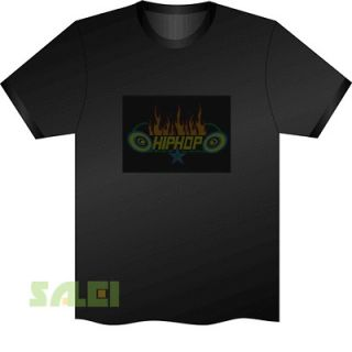 Sound Activated EL Equalizer DJ Disc LED T Shirt HipHop Fire Star
