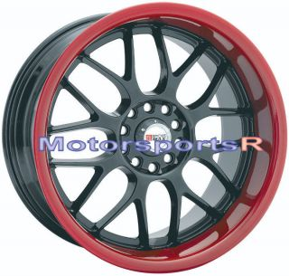 18 XXR 006 Black Red Lip Rims Wheels Deep 5x100 5x114.3 5x4.5 Honda