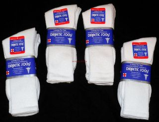 Lot Of 6 Pair White Diabetic Socks Crew Style, MEN Size 10 13 NEW