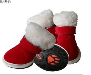 Warm Pet Dog Boots Puppy Red Christmas Shoes For Small Dog SIZE #1 #5
