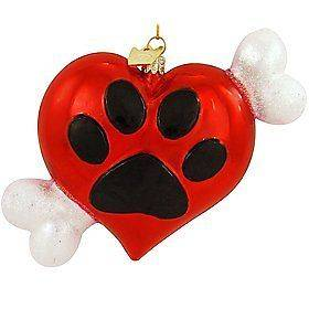 Kurt S. Adler Noble Gems Glass Heart w/ Paw Print & Dog Bone Holiday