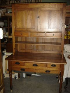 Antique Oak Possum Belly  Bin Drawer Kitchen Cabinet