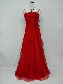 Plus Size Satin Red Long Lace Ball Gown Wedding/Evening Dress UK 26 28