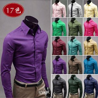 Slim Fit Stylish Casual Dress Shirts Tee Tops 17Color5size s1530