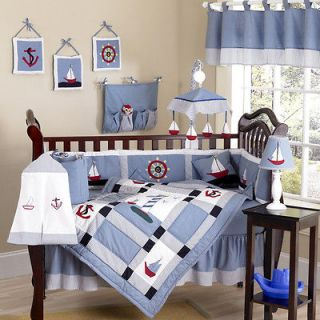 AND RED NAUTICAL THEME SAIL BOAT BABY BOY CRIB BEDDING COMFORTER SET