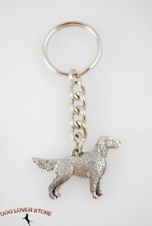 English Setter Dog Fine Pewter Silver Keychain Key Chain Ring Tail