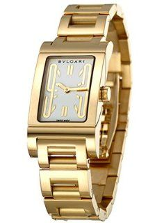 Bulgari RT39GG Rettangolo White Dial 18K Yellow Gold Womens Watch