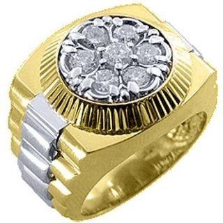 Mens Rolex Ring Two Tone Gold Round Diamond 2 Carats Jewelry