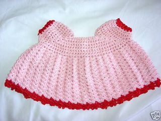 PINK HandMade Crochet Preemie Baby Girl Knitted TOP Dress Clothes
