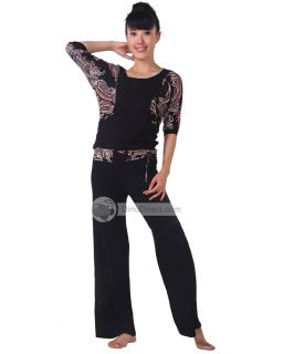 Wholesale Women Round Neck Print Long Pants Yoga Unitards Set 2Pcs