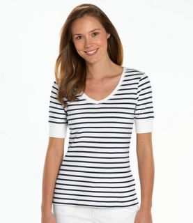 Double L Rib Knit Tee, Elbow Sleeve V Neck Stripe Tees and Tops
