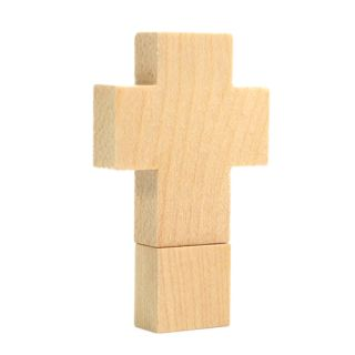 4GB Wooden Cross Shaped USB Flash Drive   Tmart