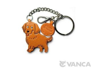Golden Retriever Handmade Leather Dog Ring Charm *VANCA* Made in Japan