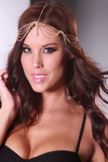 Gold High Polish Metal Draped Chain Dangle Head Piece @ Amiclubwear