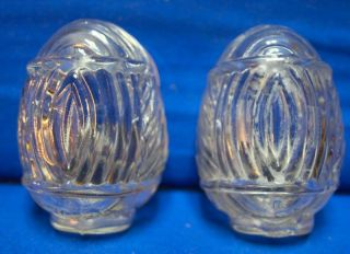 PAIR OF VINTAGE PRESSED GLASS BIRD FEEDERS For your Bird cage