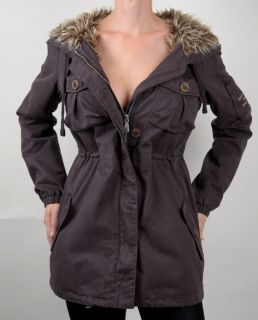ODD MOLLY New 364 DARK GREY Faux Fur Lined Coat Jacket S, Small 1