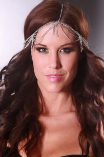 Silver High Polish Metal Draped Chain Dangle Head Piece @ Amiclubwear