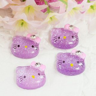 Glitter Hello Kitty Cats Flat back appliques/Cabochon/Buttons T71