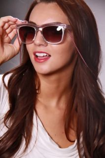 White Pink Plastic Frame Chain Trim Necklace Sunglasses @ Amiclubwear