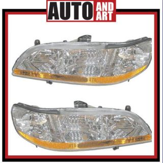 New Pair Set Headlight Headlamp Lens Housing Assembly SAE DOT 01 02