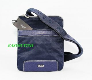 HUGO BOSS BLACK LABEL BLUE LEATHER & NYLON MALIND SIDE POUCH SHOULDER
