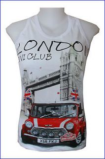 Tank Top Mini Cooper Classic Car London Tower Bridge ENGLAND Vintage M