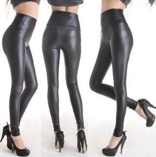 Women Black Leather Like Tight Leggings Pants Sexy Soft Stretch US