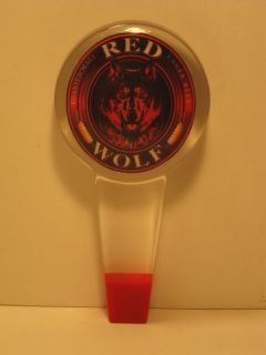 BUDWEISER / RED WOLF BEER ROUND LOGO ACRLIC / LUCITE TAP HANDLE