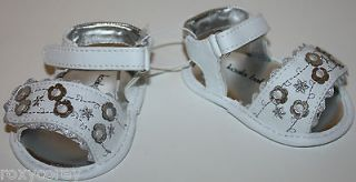 Koala Baby Infant Girls White Sandals with SIlver Flower Size 0 1 2