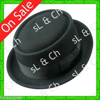 Vintage Classic 100% Wool Pork Pie Solid Flat Upturned Brim Top Hat