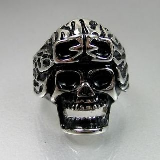 Biker Mens Black Silver Stainless Steel Airman Skull Ring Size 12
