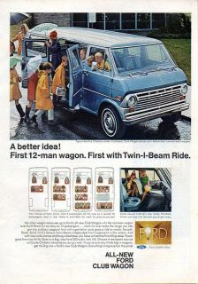 1968 Vintage Ad Ford Club Wagon 12 Passenger Van Chateau Series