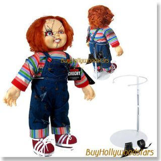 24 CHUCKY PLUSH DOLL ON WHITE DOLL STAND (Childs Play Figure