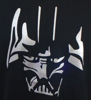 New Black Darth Vader Silhouette Silver Star Wars Shirt T Tshirt Mens