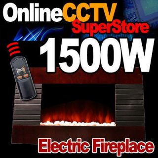 New 1500 Watts Deluxe Wood Wall Mount Electric Fireplace Space Heater