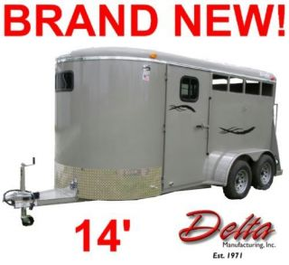 NEW 2012 14' DELTA STOCK/2 HORSE TRAILER,DRESSING ROOM