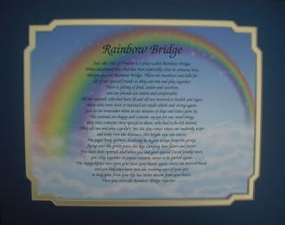 RAINBOW BRIDGE PERSONALIZED POEM PET MEMORIAL GIFT FOR LOSS OF DOG OR