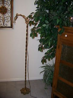 Antique Art Deco Bridge Floor Lamp with Pull Chain, Twisted Wrought