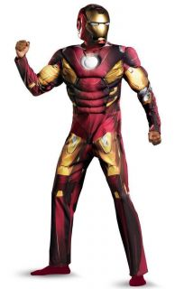 The Avengers Iron Man Mark VII Muscle Adult Costume Size 42 46   43686