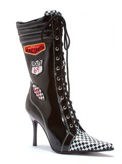 Black White Check NASCAR Car Racing Sneaker Costume Boots Womans size