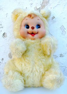 RARE 20 RUSHTON VINTAGE BABY BEAR PLUSH RUBBER FACE YELLOW DOLL