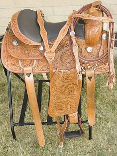 New 17 Western Hand Carved Reining Trail Horse Leather Saddle Tack US