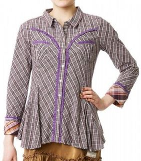 NEW ODD MOLLY 450 CHEQUE STUDDED COTTON SHIRT BLOUSE DRESS TOP BROWN 0