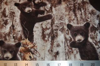 Timeless Treasure Fabric Black Bear Cubs on Birch Tree Woods Forest