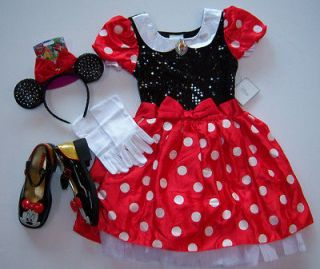 NWT Disney Minnie Mouse Costume Dress L(10) w/ Ears Gloves & Shoes 2/3