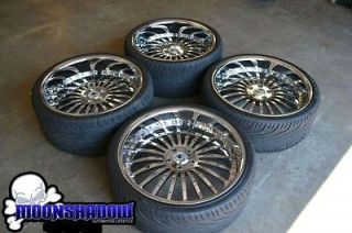 22 ASANTI AF 122 ALL CHROME STAGGERED WHEELS RIMS TIRES BMW 7 SERIES