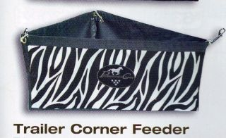Professionals Choice Zebra Horse Trailer Corner Feeder with Snaps