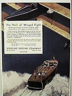 FP 1930   AVIATION BI PLANE WOODEN RUNABOUT BOAT POSTER NEW PRINTING