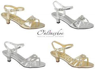 GIRLS LOW HEEL WEDDING BRIDESMAID PARTY GOLD SILVER DIAMANTE SHOES